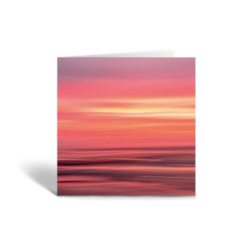 Orange Fig Abstract Pink Sunset Greetings Card Front