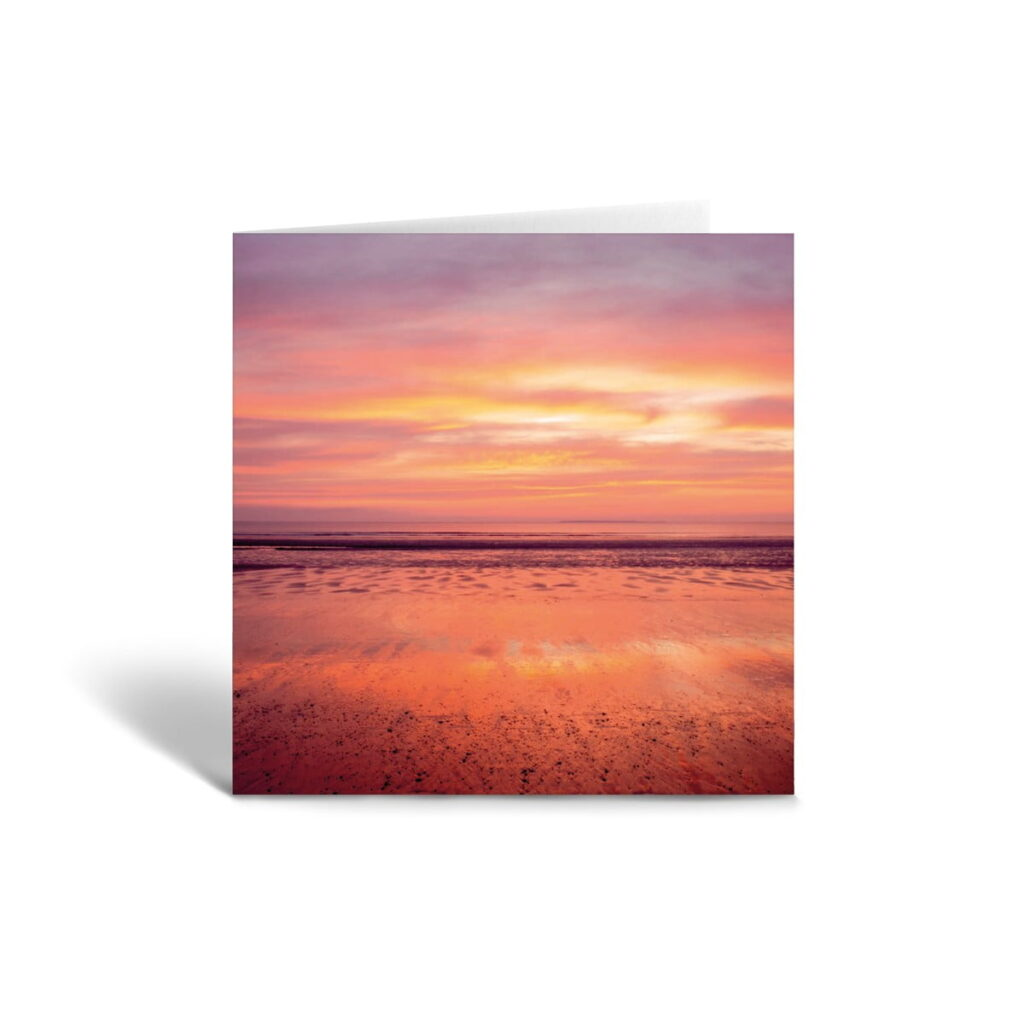 Orange Fig Pink Sunset Reflections Greetings Card Front