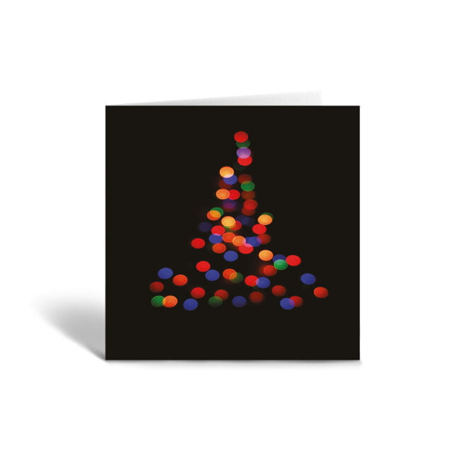 Orange Fig Abstract Christmas Tree Greetings Card Front