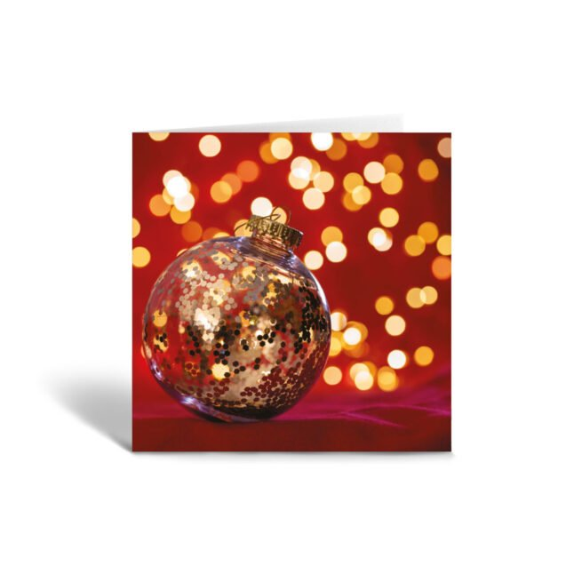 Orange Fig Christmas Bauble Greetings Card Front