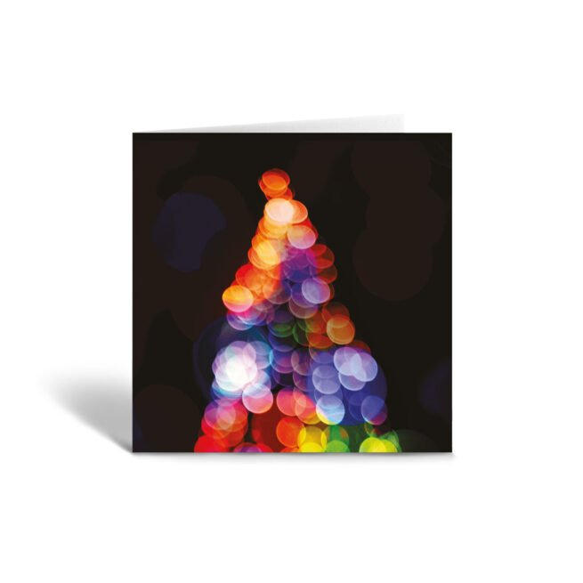 Orange Fig Colourful Christmas Tree Greetings Card Front