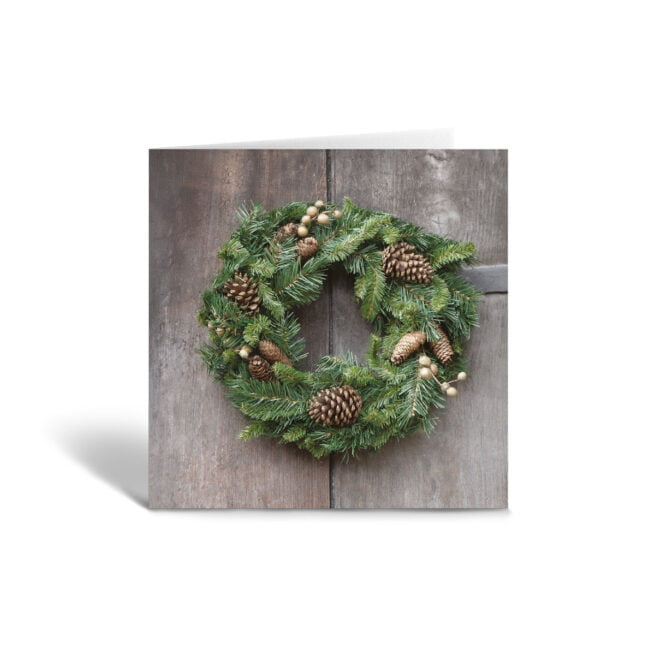 Orange Fig Pine Cone Christmas Wreath Greetings Card Front